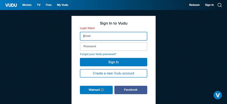 vudu-login-error